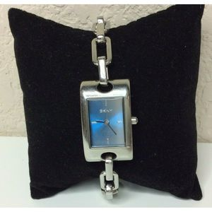 DKNY Silver Tone Chain Link Watch Blue Tone Face